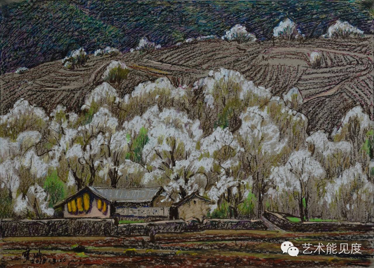 白桦林之一 38x54 油画棒 评论家说 宝川对风景的眷恋,来源于他骨子